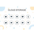 cloud storage trendy infographic template thin vector image vector image