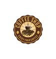 coffee cup a pile of coffee bean coffee shop logo vector image vector image