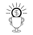 coin trophy prize linear vector image