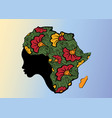 concept african woman face profile africa map vector image vector image