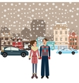 couple man woman male female standing in snow vector image vector image
