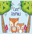 cute foxes in the forest doodles cartoon vector image