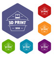 design 3d printing icons hexahedron vector image vector image