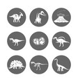 dinosaur icons dinosaur egg and volcano vector image