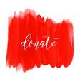 Donate lettering on hand paint bloody red