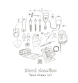 Donor blood donation sketch decorative icons set vector image