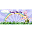 Easter festival with easter bunny holding egg vector image
