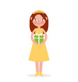 excited cute little girl kid holding wrapped gift vector image vector image