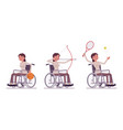 female young wheelchair user and sport activity vector image