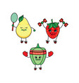 flat sketch fruits vegetables doing sport vector image vector image