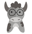 grey cow with round glasses on white background vector image