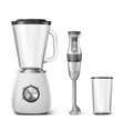 hand blender food processor and clear glass vector image