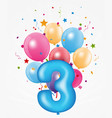 happy birthday balloon with number vector image vector image