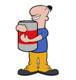 happy cartoon character drinking beer vector image