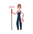 happy smiling painter standing and holding paint vector image vector image