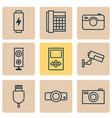hardware icons set with media device loudspeaker vector image vector image