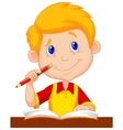 Little boy cartoon studying vector image vector image