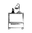 Monochrome blurred silhouette of nightstand with