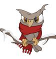 Owl in the winter cartoon vector image
