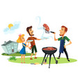 picnic summer holidays relaxation of people poster vector image