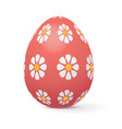 red easter egg decorated with flowers vector image