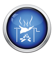 Roasting meat on fire icon vector image vector image