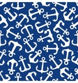 Seamless marine anchors pattern on blue vector image