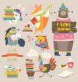 set cartoon animals reading books vector image vector image