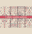 set four colorful ethnic seamless patterns vector image