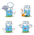 set of milk box character with chef trumpet vector image vector image
