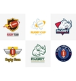 Set of vintage color rugby championship logos and