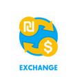 shekel to dollar exchange icon on white vector image vector image