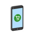smartphone with shopping cart mobile shopping vector image vector image