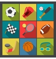 sport icons set in flat design style vector image