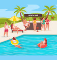 summer pool party composition vector image vector image