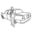 taxi driver with his car sketch vector image