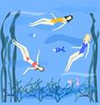 three women swimming in sea vector image vector image