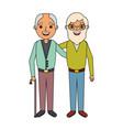 two older men embraced friends people vector image