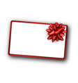 white festive background with red bow vector image vector image