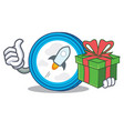 with gift stellar coin character cartoon vector image vector image
