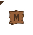 wooden alphabet or font blocks with letter m in vector image