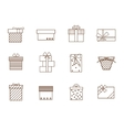 Gift Boxes Outline Set vector image