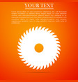 circular saw blade on orange background saw wheel vector image