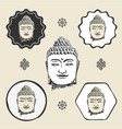 buddha head buddhism icon flat web sign symbol vector image vector image