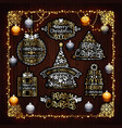 christmas golden decorations set with colorful vector image vector image