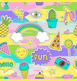 colorful seamless pattern with funny stickers vector image