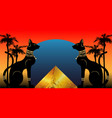 egyptian cats and antique pyramid bastet ancient vector image vector image