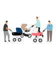 fathers with baby stroller vector image