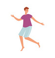 flat young man dancing at beach party vector image