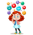 Girl and science symbols on buttons vector image vector image